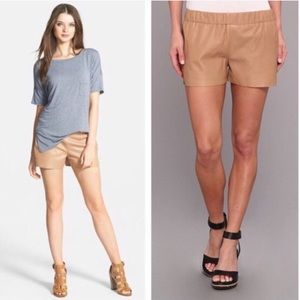 LA Made tan leather shorts Size Med NWT